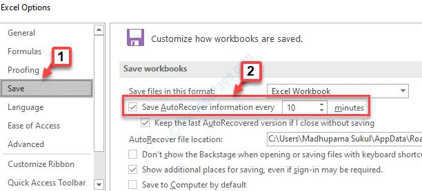 Opciones de Excel Guardar Guardar información de recuperación automática en cada cheque