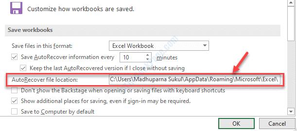 Ruta de copia de ubicación de archivo de recuperación automática