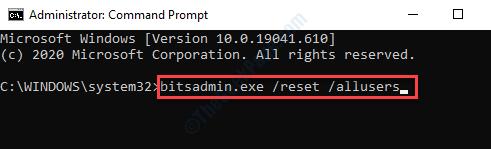 Símbolo del sistema (admin) Ejecutar comando para borrar la cola de bits Entrar
