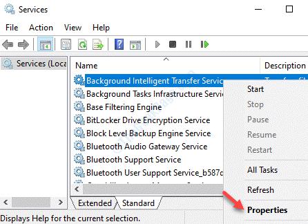 Servicios Nombres Servicio de transferencia de inteligencia en segundo plano Propiedades del clic derecho