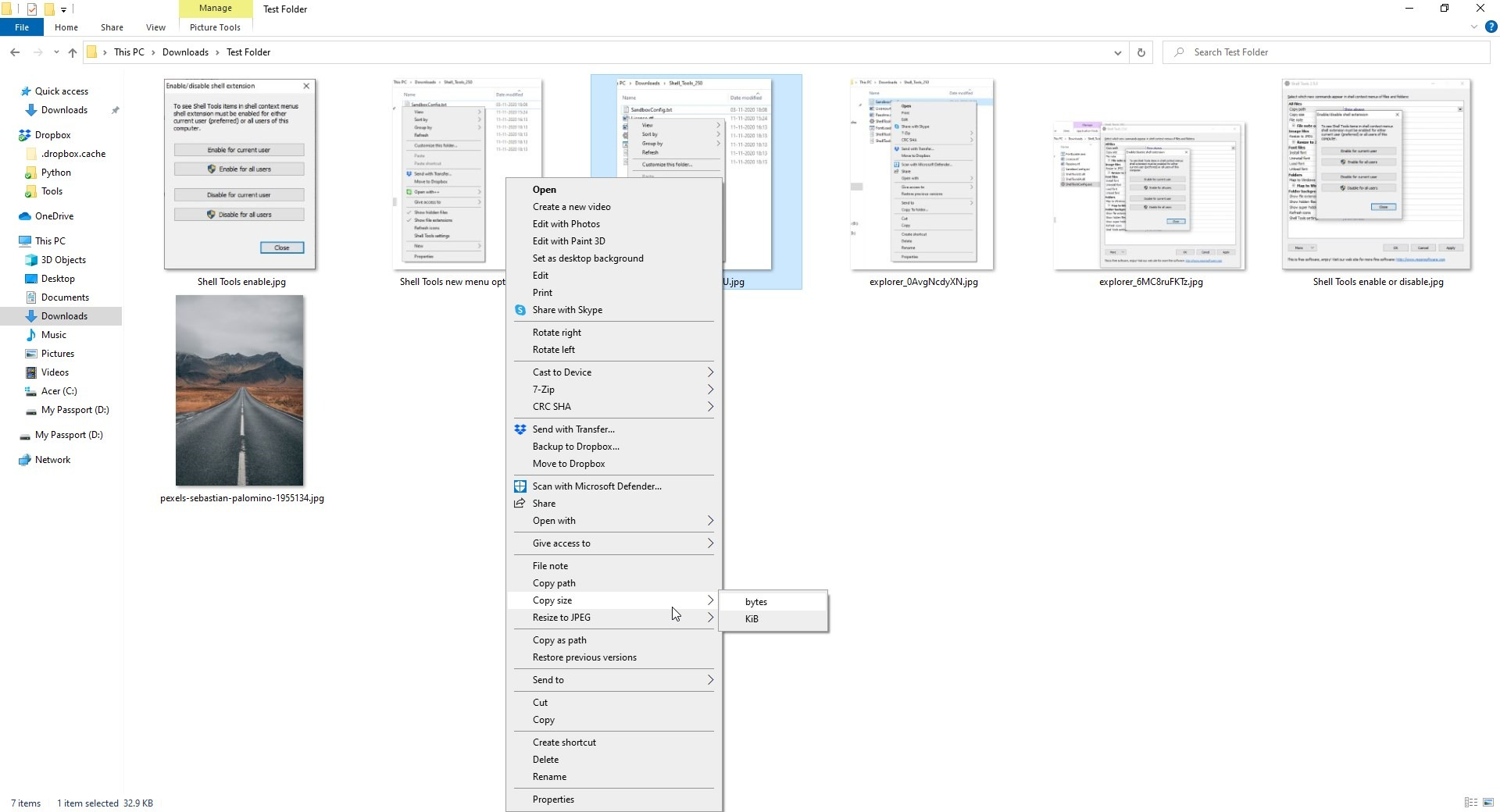 Tamaño del archivo de copia de Shell Tools