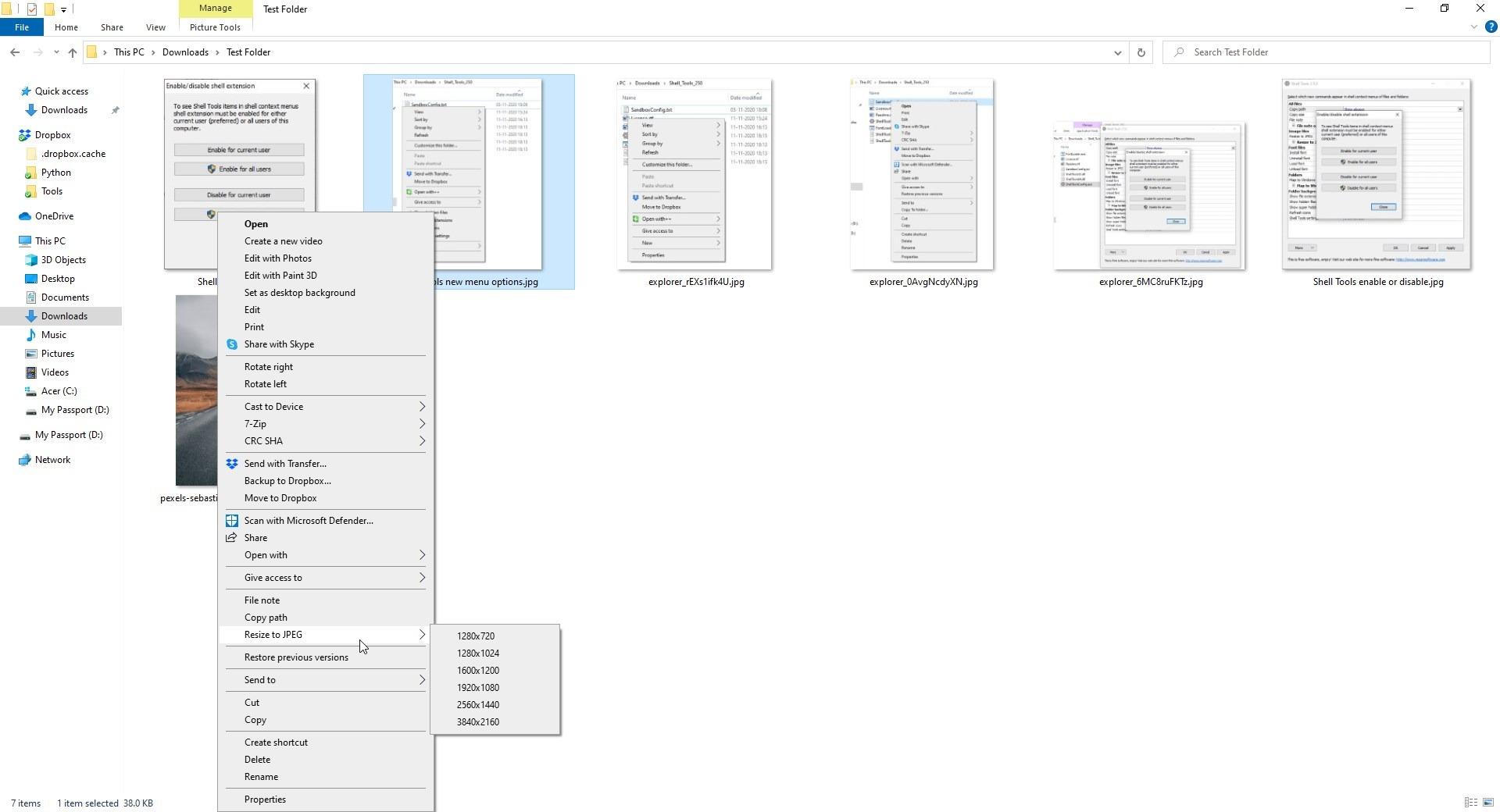 Cambiar el tamaño de las herramientas de Shell a JPEG