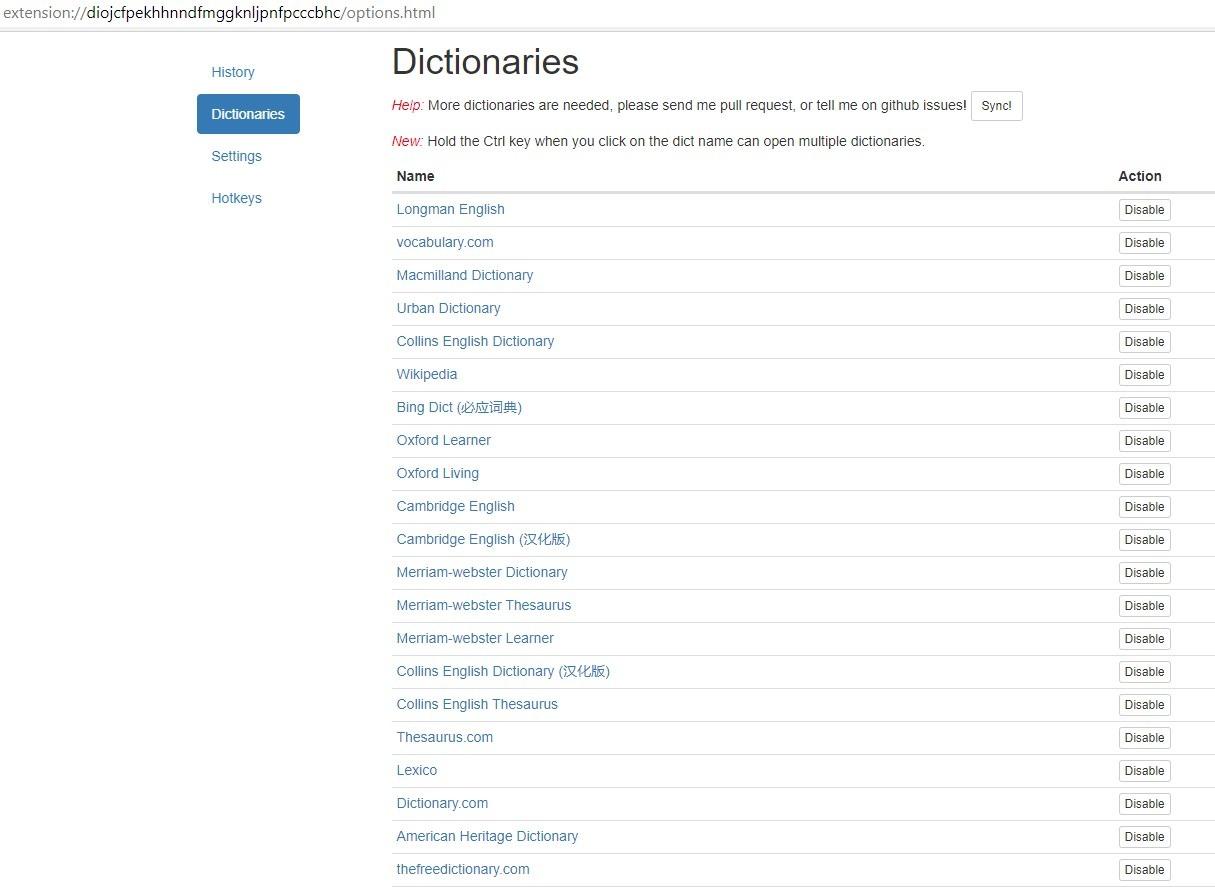 Configuración de diccionarios