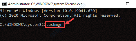 Símbolo del sistema (admin) Ejecutar comando Taskmgr Enter