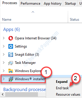 Min final del instalador de Windows