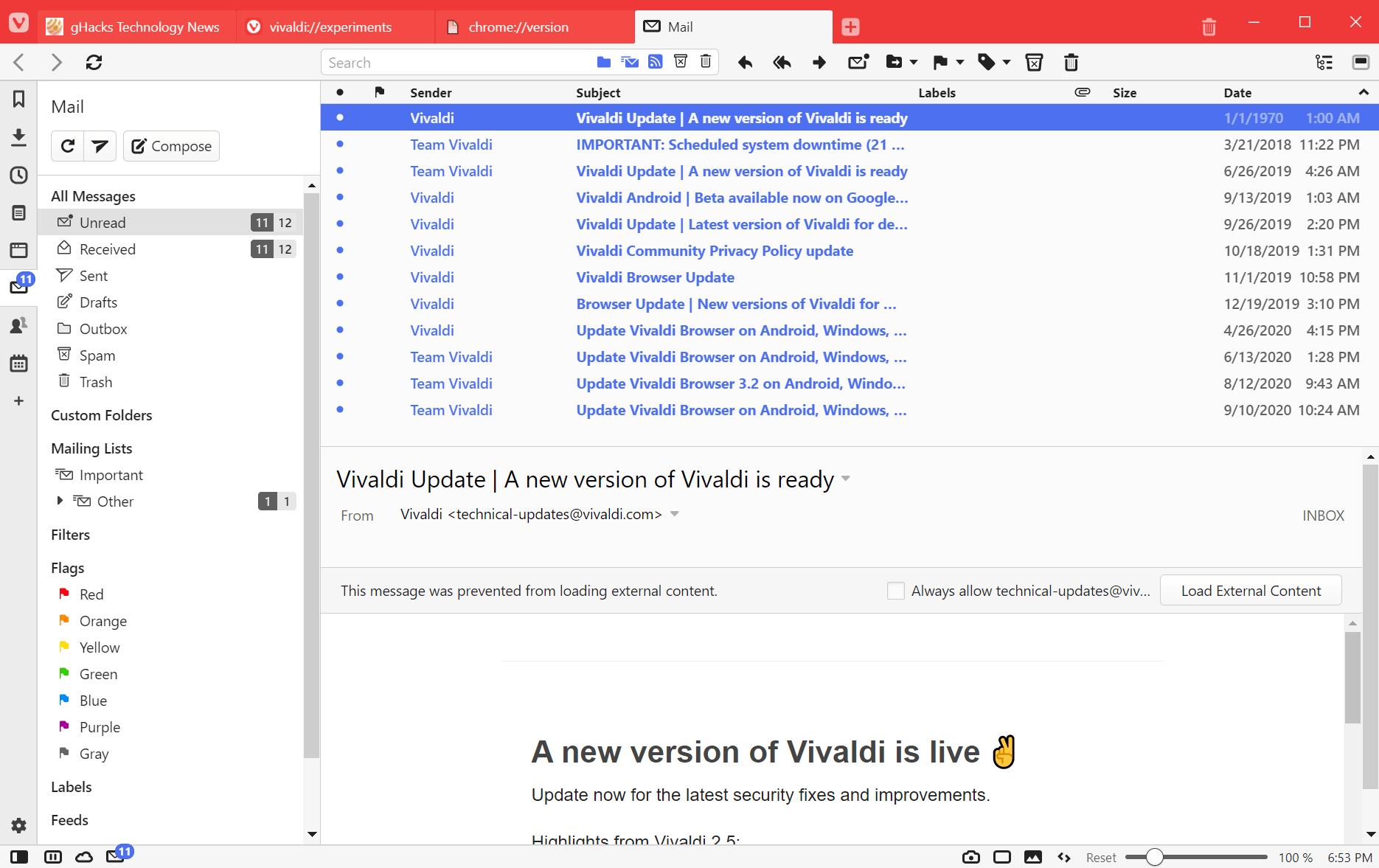 correo de Vivaldi