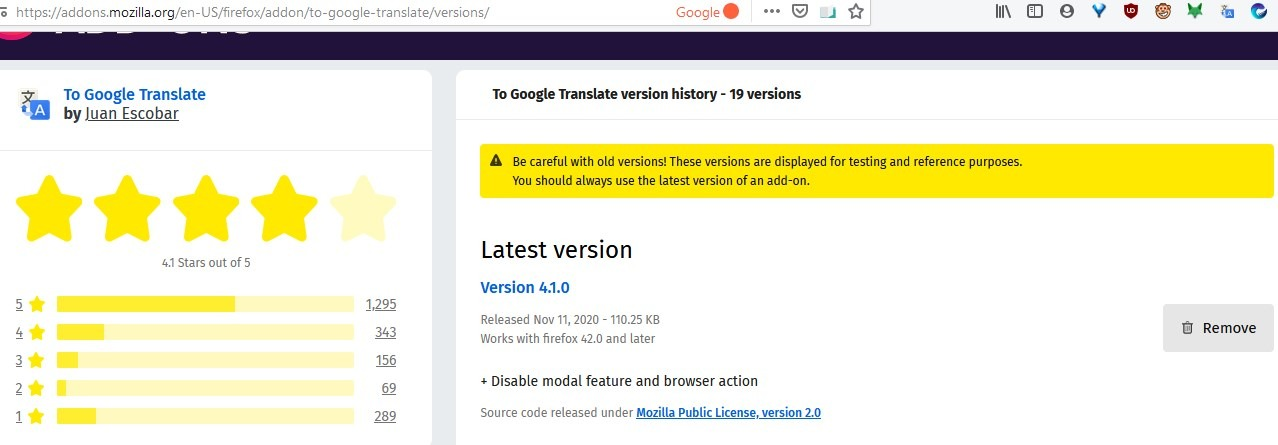 To Google Translate Firefox extension not working