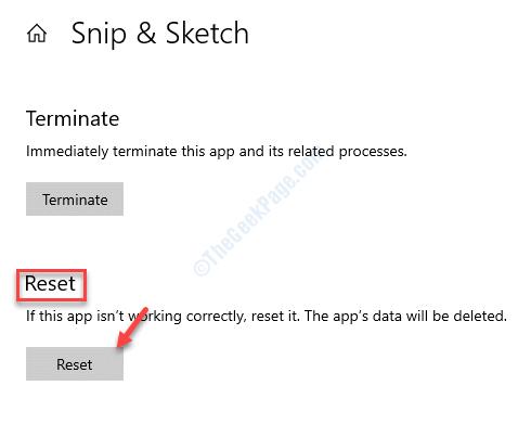 Restablecer opciones avanzadas de Snip & Sketch