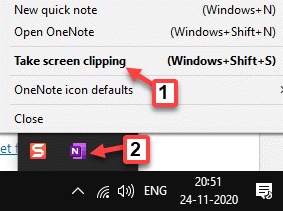 Barra de tareas Expanda la bandeja del sistema Onenote Clic derecho Tomar recorte de pantalla