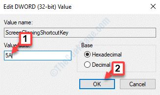Editar Dword (32 bits) Valor Valor Datos 5a Ok