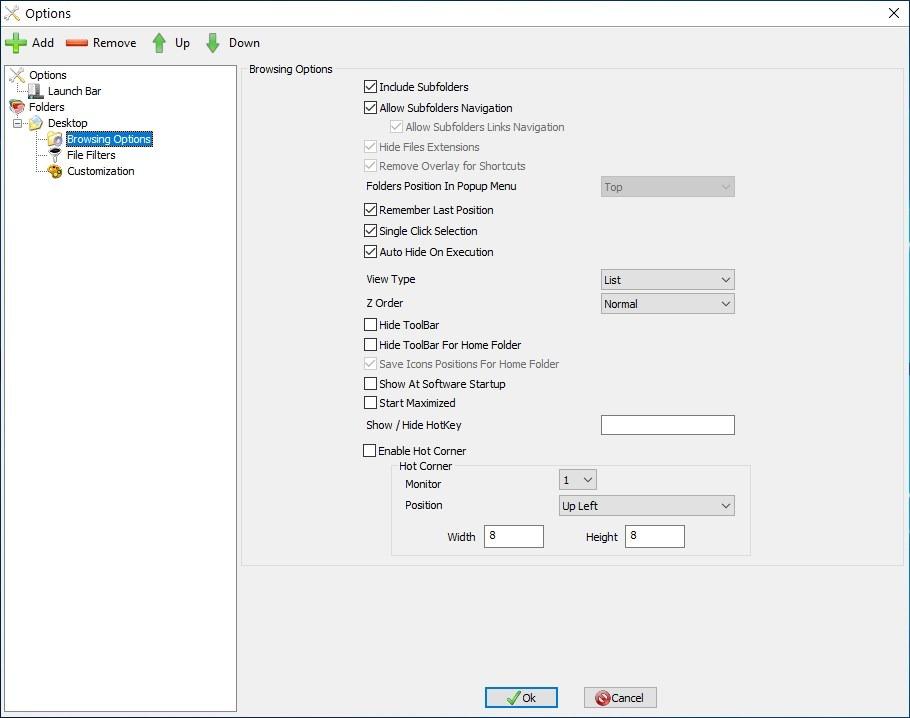 Opciones de exploración de QuickWayToFolders