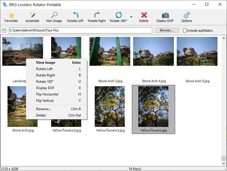 Menú contextual JPEG Lossless Rotator