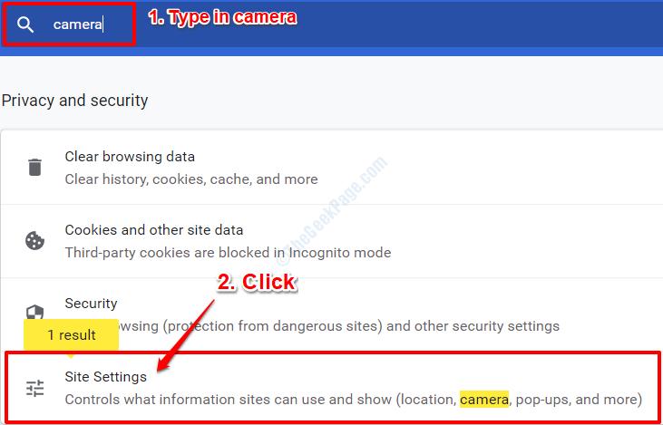 2 Configuración del sitio de Chrome
