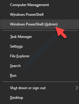 Win + X Windows Powershell (admin)