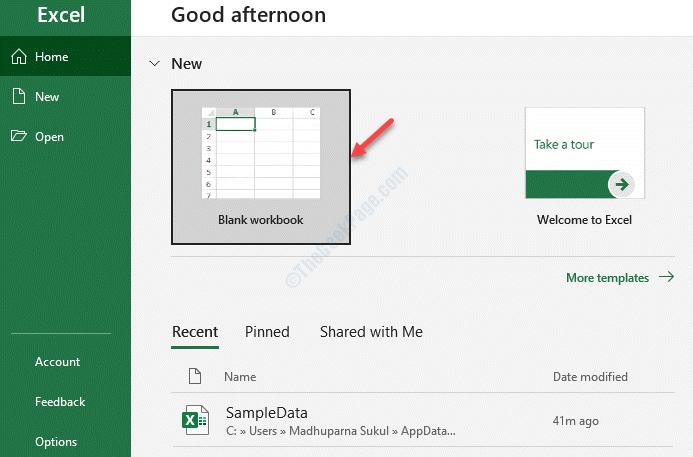 Libro de trabajo en blanco de MS Excel