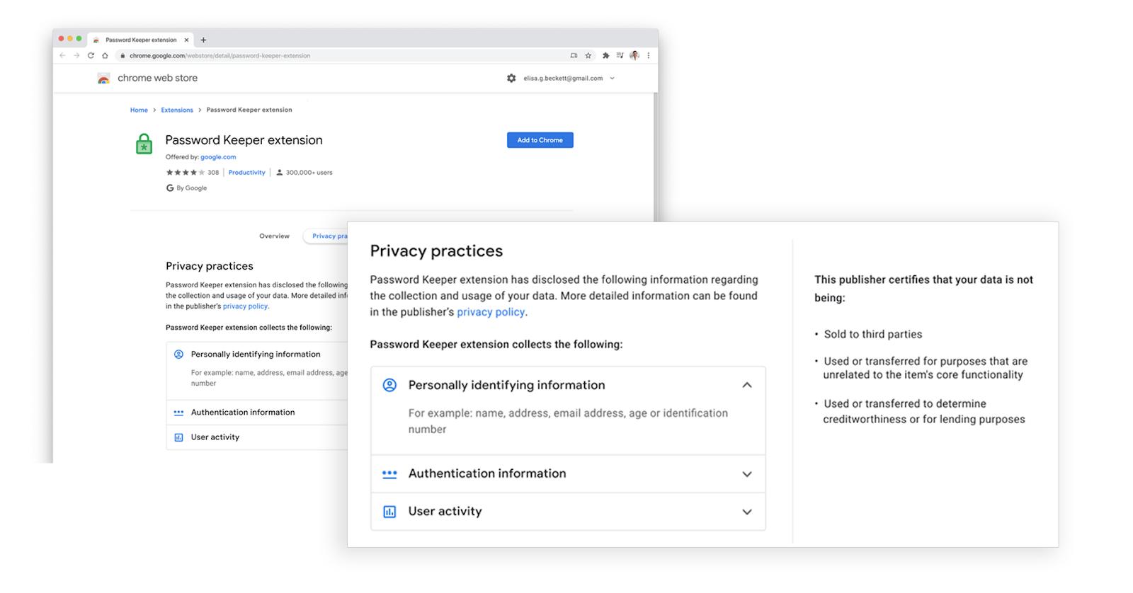 prácticas de privacidad de la tienda web de google chrome