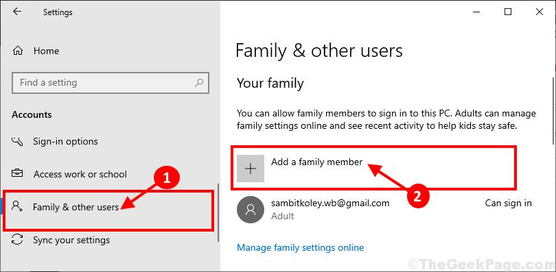 Agregar un miembro de la familia