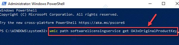 Windows Powershell (admin) Ejecuta el comando para comprobar la clave del producto original Introduce