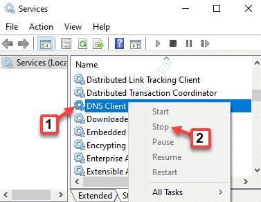 Nombre del servicio Dns Cliente Haga clic en el botón derecho del ratón para parar
