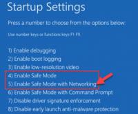 Configuración de inicio Habilitar el modo seguro con la red