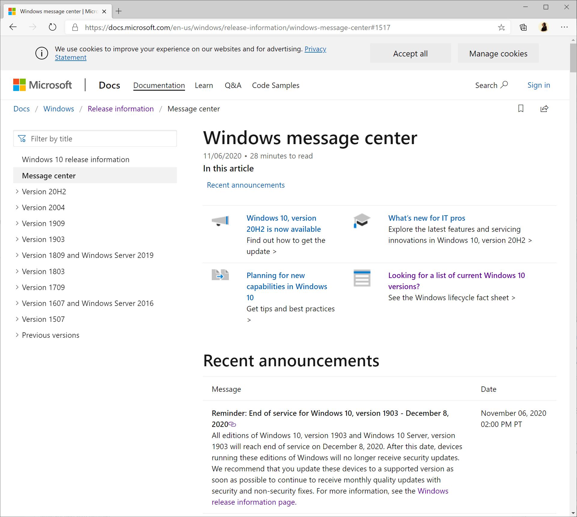 Windows 10 versión 1903 fin del soporte
