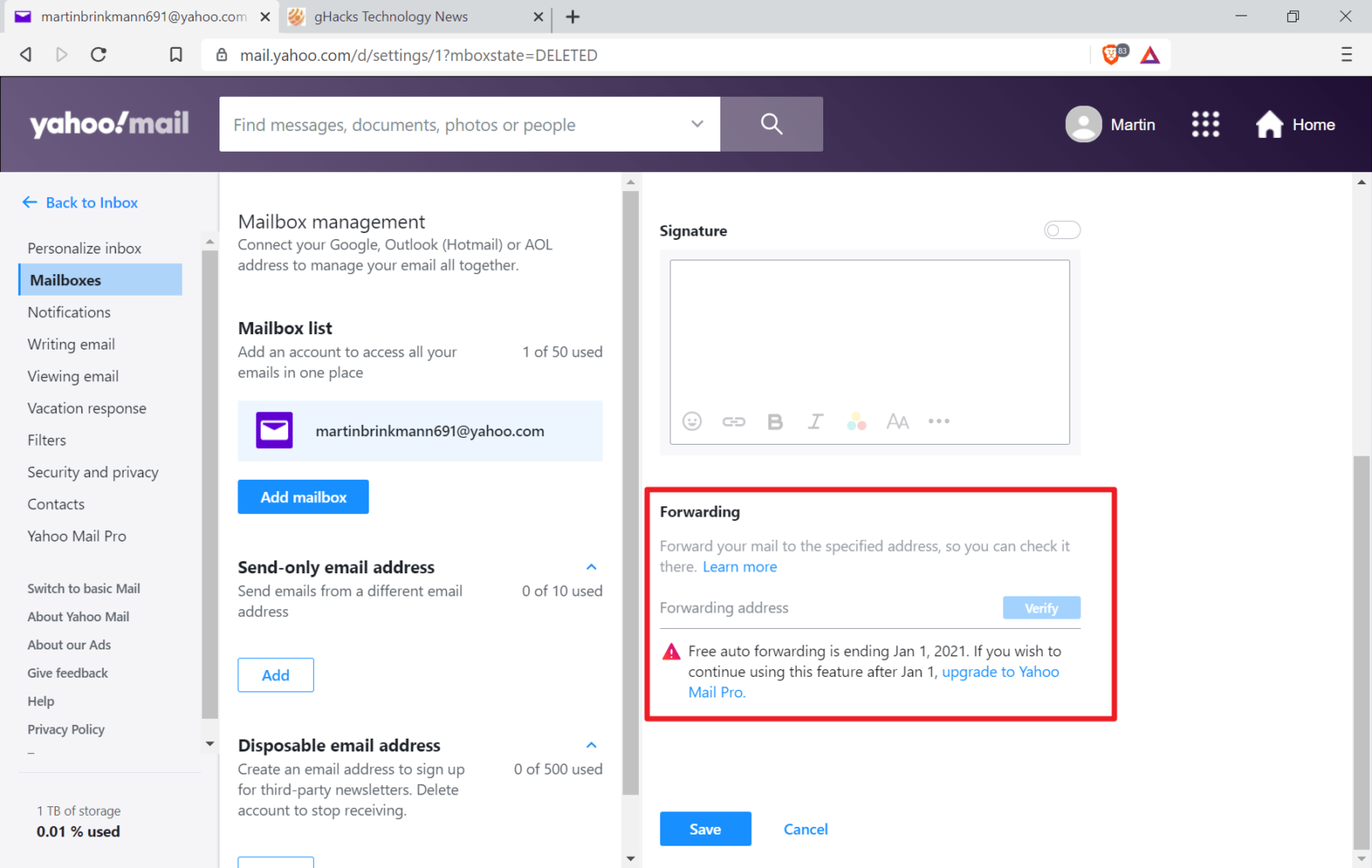 Yahoo Mail drops email forwarding option for free users