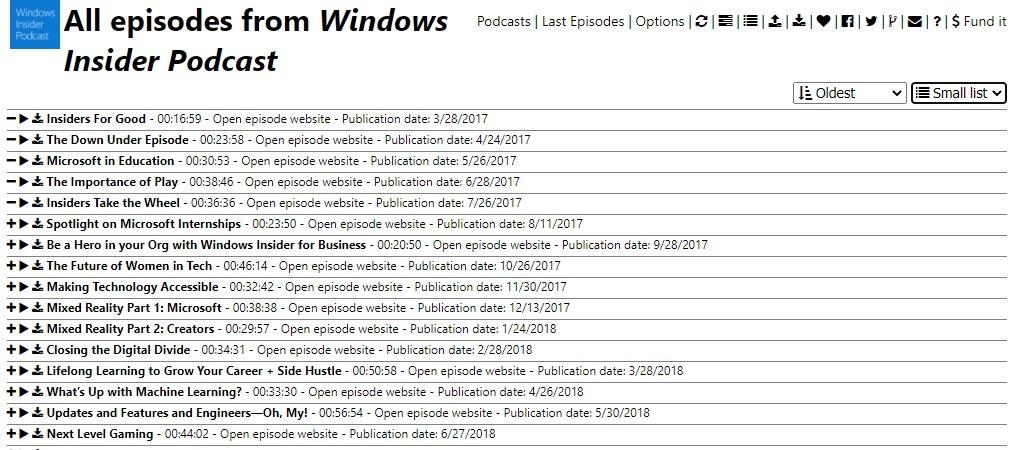 Vista de lista pequeña de Podstation