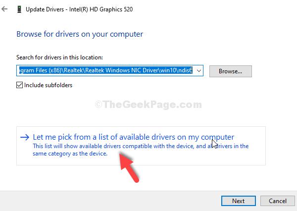 Seleccione Permítame elegir de una lista de controladores disponibles en mi computadora