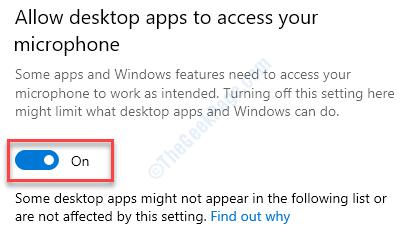 Permitir que las aplicaciones de escritorio accedan al mínimo