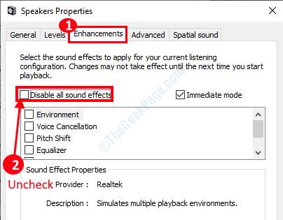 Desactivar mejoras de audio mín.