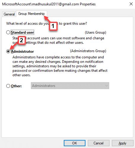 Propiedades de la cuenta Microsoft Membresía del grupo Aplicar Ok