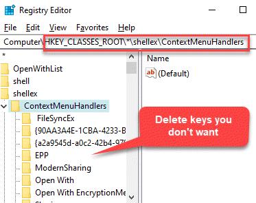 Editor del registro Navegar a la ruta Controladores de menú de contexto Eliminar claves