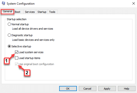 Configuración del sistema Carga de inicio selectivo general Servicios del sistema Usar verificación de configuración de inicio original