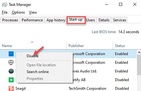 Pestaña de inicio del Administrador de tareas Haga clic con el botón derecho en la desactivación de cada aplicación