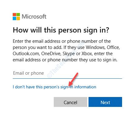 Cuenta Microsoft No tengo la información de inicio de sesión de esta persona