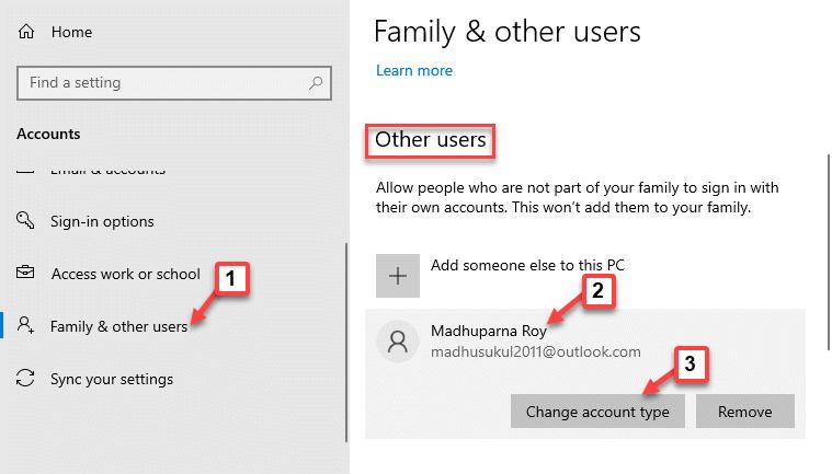 Configuración Familia y otros usuarios Otros usuarios Nuevo usuario Cambio de cuenta Tipo de cuenta