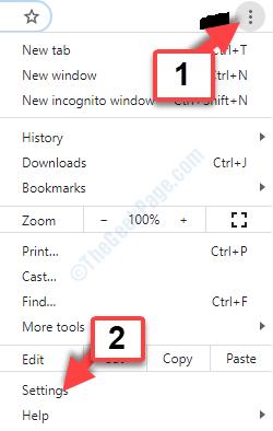 Configuración de tres puntos verticales de Google Chrome