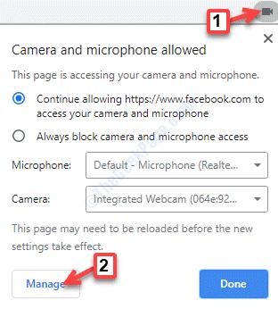Icono de cámara de sitio web de Chrome Administrar