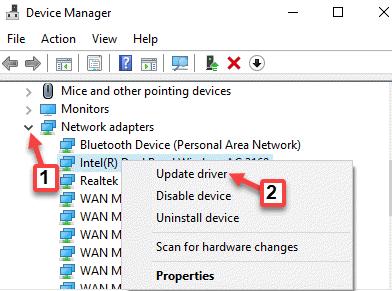 Administrador de dispositivos Adaptadores de red Dispositivo Haga clic derecho Actualizar controlador
