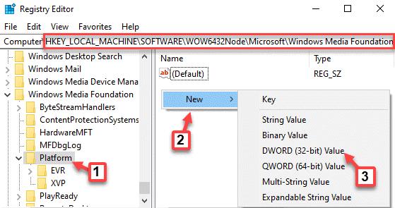 Editor del registro Navegar a la ruta Clave de plataforma Lado derecho Haga clic con el botón derecho en Nuevo valor de Dword (32 bits)