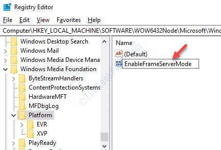 Nuevo cambio de nombre de Dword Enableframeservermode Doble clic
