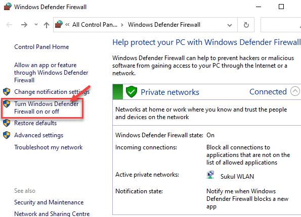 Panel de control del Firewall de Windows Defender Activar o desactivar el Firewall de Windows Defender