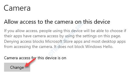 Permitir el acceso a la cámara en este cambio de dispositivo