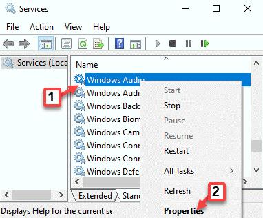 Servicios Nombres Windows Audio Propiedades del clic derecho