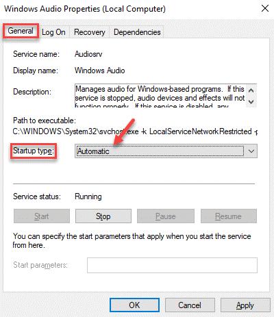 Propiedades de audio de Wiindows General Tipo de inicio Automático Aplicar Aceptar