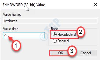 Valor hexadecimal de datos Ok