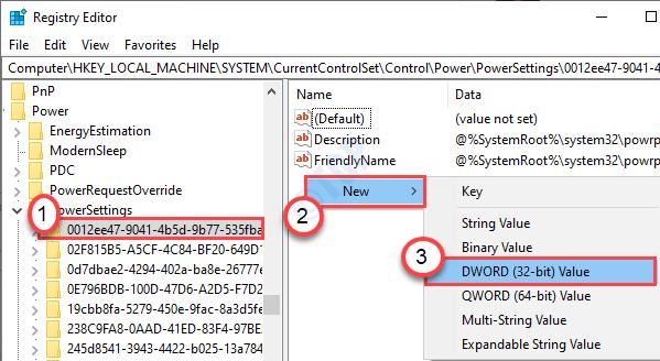 Nueva configuración de potencia de Dword Mín.