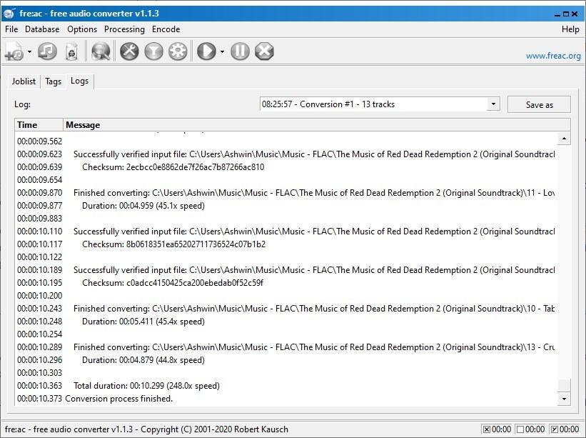 registro del convertidor de audio freac