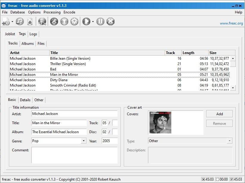 etiquetas de convertidor de audio freac