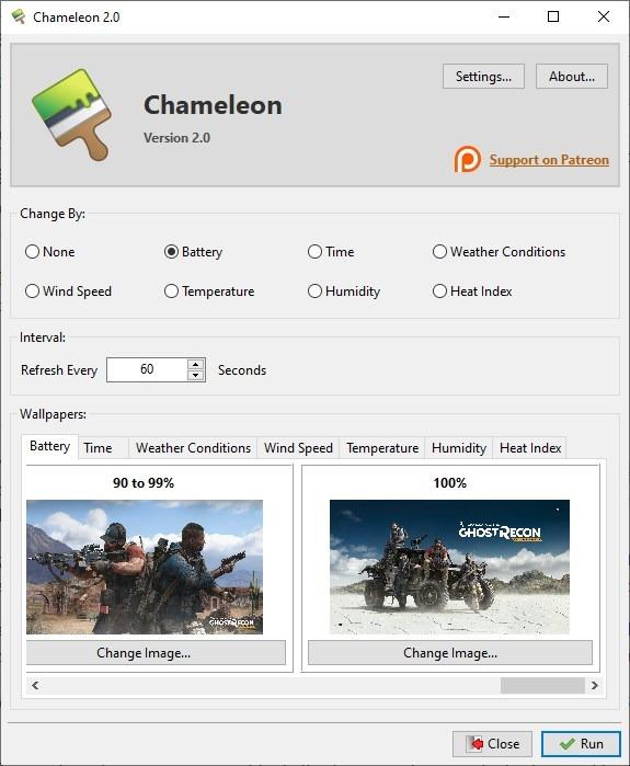 Camaleón establece diferentes fondos de pantalla